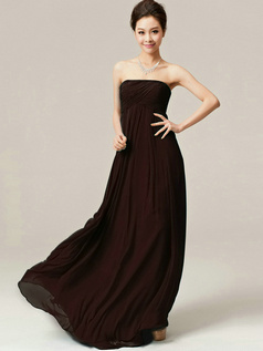 A-Line Floor Length Wrap Pleats Strapless Draped Chocolate Bridesmaid Dresses
