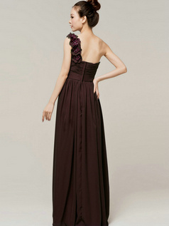 A-Line Sweetheart One shoulder with Flowers Wrap Pleats Chocolate Bridesmaid Dresses