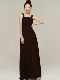 Column Tube Top Straps Floor length Ruched Chocolate Bridesmaid Dresses