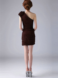 Sheath One Shoulder with Flower Short Ruched Chocolate Bridesmaid Dresses