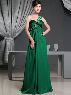 A-line Chiffon One Shoulder with Flowers Sweep Train Hunter Bridesmaid Dresses