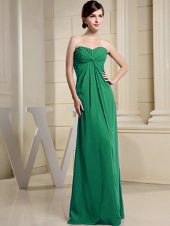 Column Chiffon Ruched Sweetheart Floor-length Hunter Bridesmaid Dresses