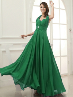 Column Chiffon Halter Floor-length Draped Hunter Bridesmaid Dresses