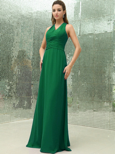 Column Chiffon V-neck Floor-length Ruched Hunter Bridesmaid Dresses with Cross Straps