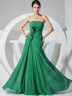 A-line Chiffon Floor Length Ruched Hunter Bridesmaid Dresses with Flowers