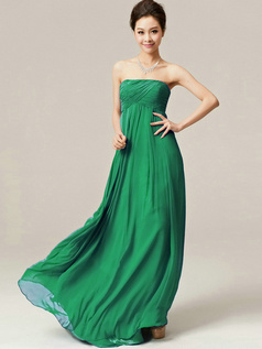 A-Line Floor Length Wrap Pleats Strapless Draped Hunter Bridesmaid Dresses