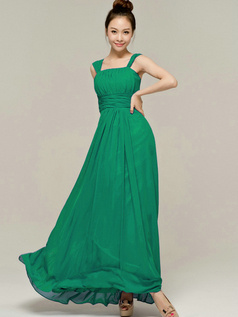 Column Tube Top Straps Floor length Ruched Hunter Bridesmaid Dresses