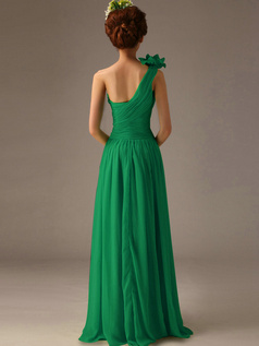 A-Line One Shoulder with Flower Floor Length Wrap Pleats Hunter Bridesmaid Dresses