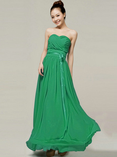 Column Sweetheart Strapless Ribbons Floor Length Hunter Bridesmaid Dresses
