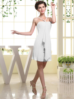 Sheath Chiffon Tube Top Spaghetti Straps Ruffle Short White Bridesmaid Dresses