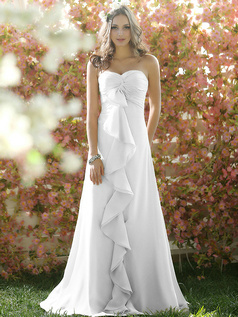 Ruffles A-line Chiffon Sweetheart Floor-length Draped White Bridesmaid Dresses