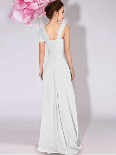 A-Line Sweetheart Straps Draped Floor Length White Bridesmaid Dresses