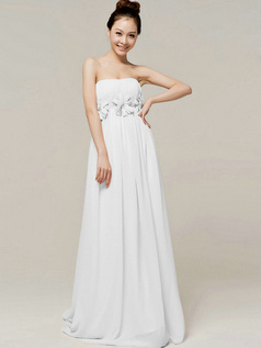 Column Brush Train Tube Top Strapless Flower White Bridesmaid Dresses
