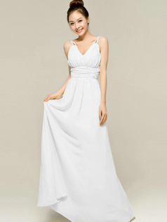 Column Floor Length Spaghetti Straps V Neck Draped White Bridesmaid Dresses