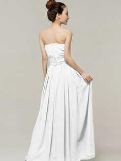 Column Sweetheart Strapless Ribbons Floor Length White Bridesmaid Dresses