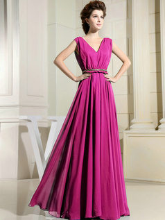 Column Chiffon V-neck Floor-length Draped Fuchsia Bridesmaid Dresses