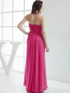 Column Chiffon Halter Floor-length Pleats Fuchsia Bridesmaid Dresses
