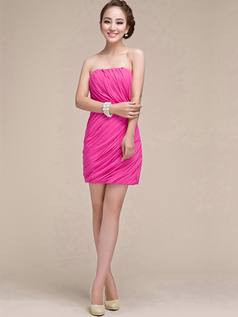 Sheath Ruched Tube Top Strapless Short Fuchsia Bridesmaid Dresses