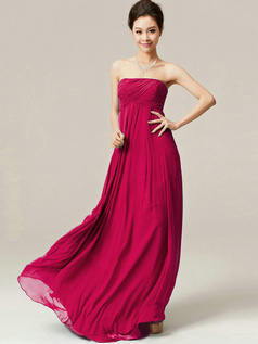 A-Line Floor Length Wrap Pleats Strapless Draped Fuchsia Bridesmaid Dresses