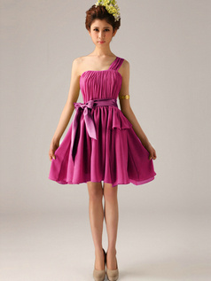 A-Line One Shoulder Bowknot Sash Fuchsia Pleats Short Bridesmaid Dresses