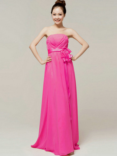 Noble A-Line Floor Length Wrap Pleats Tube Top Strapless Sashes Fuchsia Bridesmaid Dresses