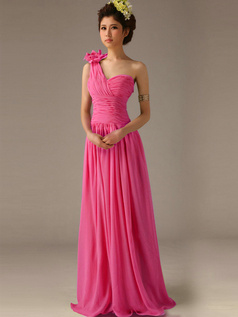 A-Line One Shoulder with Flower Floor Length Wrap Pleats Fuchsia Bridesmaid Dresses