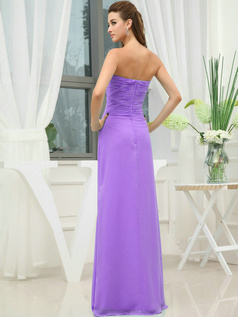 Column Chiffon Sweetheart Floor-length Wrap Pleats Lilac Bridesmaid Dresses