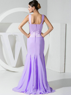 Mermaid Chiffon Straps Lilac Bridesmaid Dresses