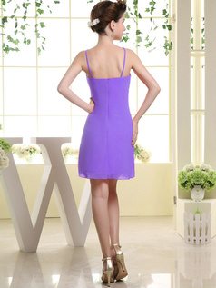Sheath Chiffon Tube Top Spaghetti Straps Ruffle Short Lilac Bridesmaid Dresses