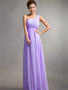 A-Line One Shoulder Floor Length Draped Lilac Bridesmaid Dresses