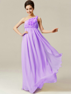 A-Line Floor Length One Shoulder Flowers Lilac Bridesmaid Dresses