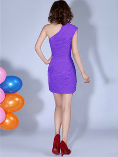 Sheath One Shoulder Ruched Short Lilac Bridesmaid Dresses