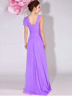 A-Line Sweetheart Straps Draped Floor Length Lilac Bridesmaid Dresses