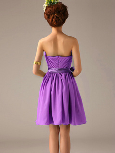 A-Line One Shoulder Bowknot Sash Lilac Pleats Short Bridesmaid Dresses