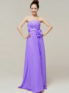Noble A-Line Floor Length Wrap Pleats Tube Top Strapless Sashes Lilac Bridesmaid Dresses