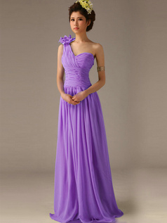 A-Line One Shoulder with Flower Floor Length Wrap Pleats Lilac Bridesmaid Dresses