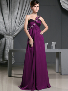 A-line Chiffon One Shoulder with Flowers Sweep Train Grape Bridesmaid Dresses