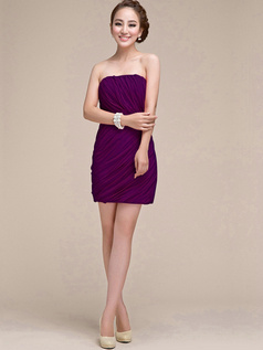 Sheath Ruched Tube Top Strapless Short Grape Bridesmaid Dresses