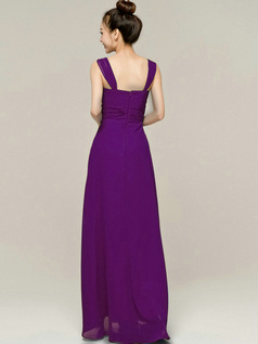 Column Tube Top Straps Floor length Ruched Grape Bridesmaid Dresses