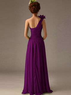 A-Line One Shoulder with Flower Floor Length Wrap Pleats Grape Bridesmaid Dresses