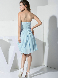 A-line Chiffon Sweetheart Ruffles Wrap Pleats Light Sky Blue Bridesmaid Dresses