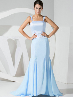 Mermaid Chiffon Straps Light Sky Blue Bridesmaid Dresses