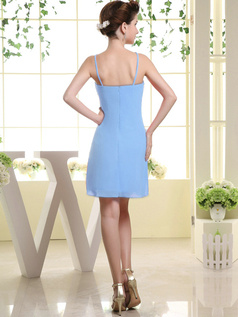 Sheath Chiffon Tube Top Spaghetti Straps Ruffle Short Light Sky Blue Bridesmaid Dresses