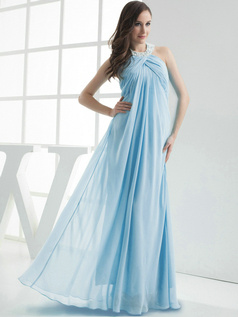 Column Chiffon Halter Floor-length Pleats Light Sky Blue Bridesmaid Dresses