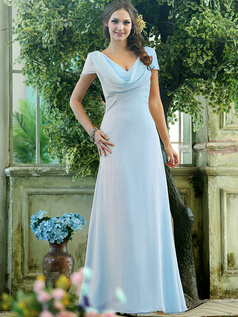 Modest A-line Chiffon Short Sleeves Cowl Neck Ankle-length Draped Front  Light Sky Blue Bridesmaid Dresses
