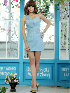 Sexy Sensation Sheath Chiffon One shoulder Short Draped Light Sky Blue Bridesmaid Dresses