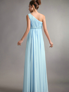 A-Line One Shoulder Floor Length Draped Light Sky Blue Bridesmaid Dresses