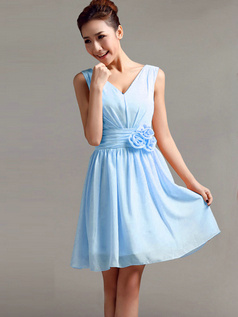 A-Line V-neck Straps Flower Sash Draped Short Light Sky Blue Bridesmaid Dresses