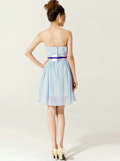 A-Line Sweetheart Strapless with Ribbons Short Light Sky Blue Bridesmaid Dresses
