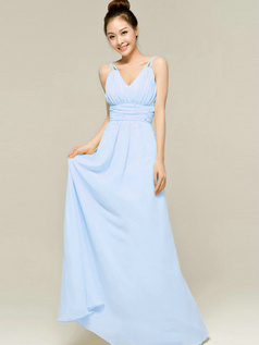 Column Floor Length Spaghetti Straps V Neck Draped Light Sky Blue Bridesmaid Dresses